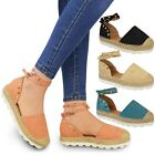 New Womens Ladies Espadrilles Ankle Strappy Sandals Rock Stud Summer Shoes Size