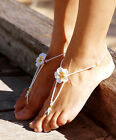 BEACH BRIDAL Barefoot Sandals Frangipani flower 12 colours TEEN size  2 to 3