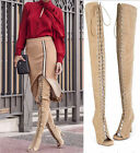 Fashion Women Leather Lace Up Thigh High Roman Gladiator Sandals Boots Over Knee