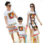New Fashion Summer Family Outfits kids sets white T shirt + shorts Pants Cartoon