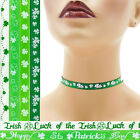 St Patrick's Day Choker 3/8 inch (10 mm) necklace Shamrocks Lucky Luck Irish +