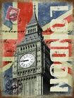 LONDON POST CARD BIG BEN UNION JACK TRAVEL POSTER METAL PLAQUE SIGN ART DECO 630