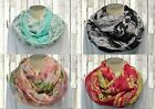 Infinity Scarf Womens Damask Lightweight Floral Black Pink Gold Mint Gray Scarve