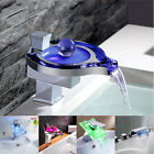 Modern Single Handle Waterfall Bathroom Waterfall Sink LED Light Faucet Chrome