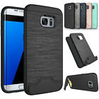 Slim Brushed Card Holder Hard Cover Stand For Samsung Galaxy S7 Edge Phone Case