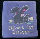 EASTER BUNNY BABY FLEECE BLANKET my first 1st any name BOY GIRL CHICK EGG NEW