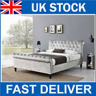 Luxury Crushed Velvet Fabric Silver Chesterfield Sleigh Bed Frame Double King