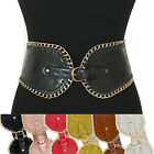 Women Western Fashion Metal Chain Wide PU Leather Elastic Stretch Waist Belt