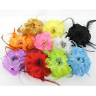 Feather Duble Big Flowers Hair Clip Brooch Pin Bridal Party Wedding Belly Dancer