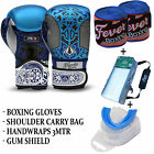 Professional Boxing Sparring Gloves Gum Sheild Hand Wrap Carry Bag BLUE All Size