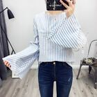 New Womens Blue/Pink Striped Print Trumpet Sleeve Pullover Blouse Tops Shirt SML