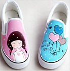 Children Fashion Colorful Hand-painted Canvas Shoes Cute girls & Lovely Hearts