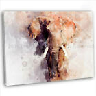African Elephant Abstract Watercolour Canvas Print Framed Wall Art Picture