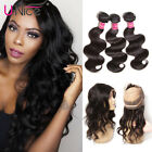 7A Grade 360 Lace Frontal Closure with Peruvian Virgin Hair 3 Bundles Body Wave