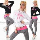 Women's 2 Piece Full Tracksuit Sweatshirt Top Keep Fit Stretch Jogging Trousers