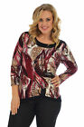 New Womens Top Plus Size Ladies Shirt Abstract Print Tunic Sale Button Nouvelle