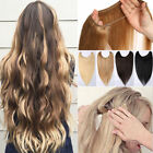 "16-28""Wavy Fits like A Halo invisable wire Human Hair Extension 100g black brown"