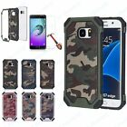 CAMOUFLAGE MILITARY HYBRID ARMY CAMO RUGGED CASE COVER + TEMPERED GLASS SAMSUNG
