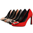 GEE Women Formal Work High Heels Buckle Square Toe Suede Pumps Party Bride Shoes
