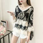 NEW Women Ladies Loose Long Sleeve Shirt White Casual Blouse Lace T-Shirt Tops