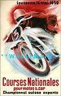 Motorcycle Racing 1939 Course Nationales Switzerland Vintage Poster Print