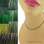 2 mm Green Leather Cord Necklace or Choker Custom Length pck colors Handmade USA