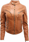 Women's Casual Tan Leather Biker Jacket