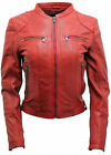 Women's Classic Real Red Leather Biker Jacket