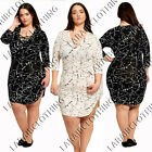 New Womens Plus Size V Neck Lace-up Long Sleeve Plunge Top Mini Dress Size 16-26
