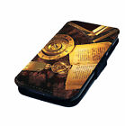 Book Compass Candle Zodiac Design Printed Faux Leather Flip Phone Cover Case #1