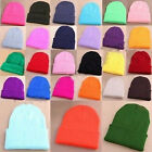 New Men's Women's Beanie Knit Ski Cap Blank Color Warm Wool Hat Accessories