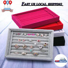 Velvet Jewelry Wood Ring Display Organizer Box Tray Holder Earring Storage Case