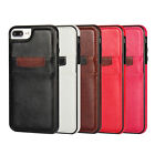 Genuine PU Leather Card Soft Rubber Back Case Cover For iPhone  Samsung Phones