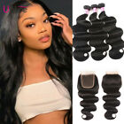 8A Brazilian Body Wave Hair 3 Bundles with Closure Wavy Human Hair Lace Closure