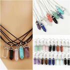 Quartz Healing Crystal Pendant Natural Stone Gem Necklace Leather Rope Chain