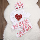 Baby Girls Love Top Bottoms Hat 3piece Outfit. Set. Casual. Smart. Party.Gift