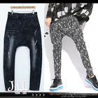 american street punk korean K-pop distressed stone washed harem jeans【J2J2034】
