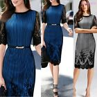 Celeb Fashion Women Lace Mid-sleeve Stripe Business Office Bodycon Pencil Dress