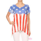 Women American Flag Distressed Dipped Hem Short sleeve T-shirt Top (S/M/L/XL)