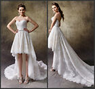 Strapless High Low Wedding Dresses Lace Beach Garden Simple Bridal Gowns HD291