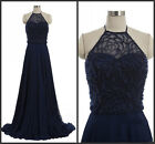 Navy Blue Halter Bridesmaid Evening Dress Beading Mother Of The Bride Gown HD292