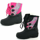 CHILDS REFLEX LACE UP SNOW BOOT IN BLACK & PINK STYLE - H4066