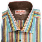 NWT Inserch Mens Long Sleeve 100% Linen Striped Shirt W/ Contrast Trim Size S-6X