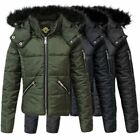 Kids Girls Puffer Faux Fur Padded Warm Thick bubble Hooded Childrens Jacket