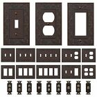 power outlet cover plate - Oil Rubbed Bronze Wall Switch Plate Outlet Covers Ornate Floral Metal Wallplates