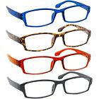 4 Pack Reading Glasses with Spring Hinge Arms Comfort Fit for Men Women