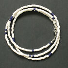 Waist Beads African Recycled Glass Beads 3 mm White Royal Blue Silver Clasp