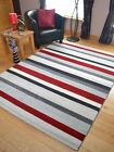 New Small Extra Large Modern Red Grey Silver Stripes Striped Floor Carpets Rugs