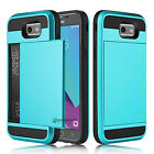 For Samsung Galaxy J3 Emerge/Prime/Luna Pro Card Wallet Holder Armor Case Cover