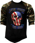 Men's Live Free Or Die American Skull Camo Baseball Raglan T Shirt USA Flag Army